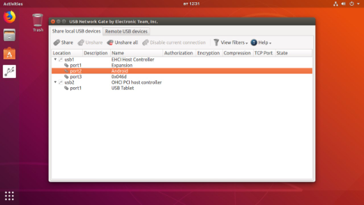 Screenshot USB redirect RDP Linux